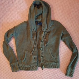 Knit Green Small American Eagle Zip-up Hoodie